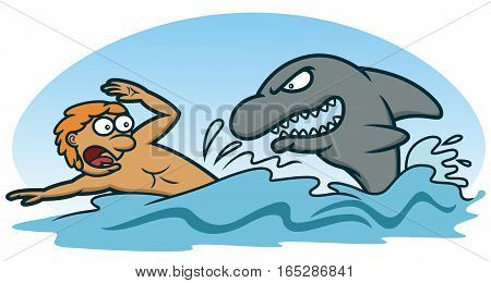 Scared Man Avoiding Shark Attack Cartoon Illustration