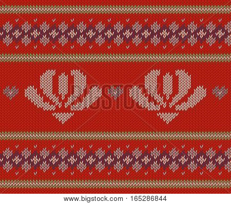 Jacquard pattern with flowers. Colorful vector on red background. Sample can be used as scheme of knitting, wallpaper, design element, independent project, etc. Wool knitted texture. Horizontal.