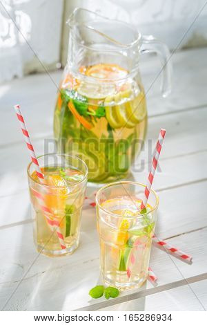 Healthy Lemonade With Fruits With In Old Kitchen