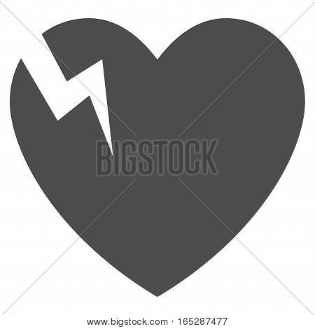 Heart Crack vector icon. Flat gray symbol. Pictogram is isolated on a white background. Designed for web and software interfaces.