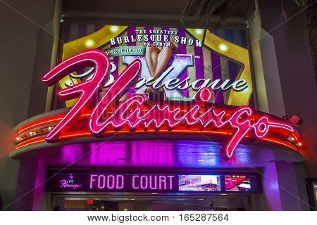 LAS VEGAS - OCT 05 : The Flamingo hotel and casino on October 05 2016 in Las Vegas. The hotel opened by Bugsy Segal on 1946 and it's the oldest resort on the Strip still in operation