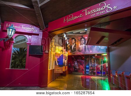 LAS VEGAS - OCT 05 : Exterior of the Madame Tussauds museum in Las Vegas on October 05 2016 The two-floor 30000-square-foot museum has 100-plus wax replicas.