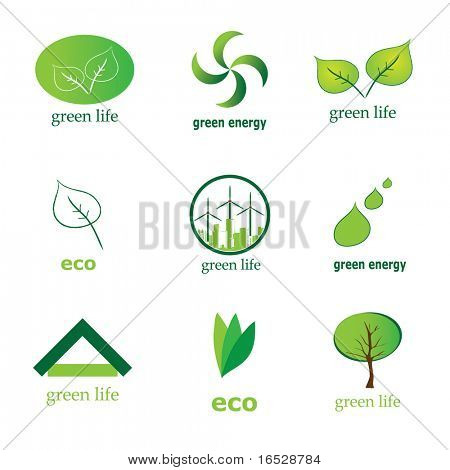 Collection of 9 green eco icons