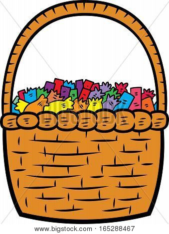 Basket Full of Candy Vector Illustration isolated on white