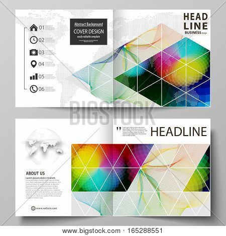 Business templates for square design bi fold brochure, magazine, flyer, booklet or annual report. Leaflet cover, abstract flat layout, easy editable vector. Colorful design with overlapping geometric shapes and waves forming abstract beautiful background.