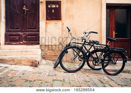 bicycles in the streets of piran, slovenia.
