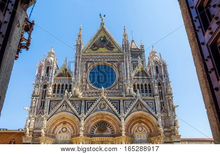 Front View Of The Siena Cathedral