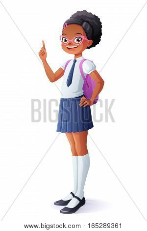 Cute African ethnic smiling young school student girl got the idea and index finger pointing up. Cartoon vector character isolated on white background.
