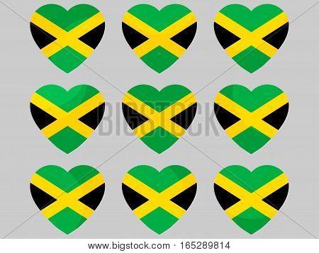 Heart With Jamaican Flag. I Love Jamaica. Vector Illustration.