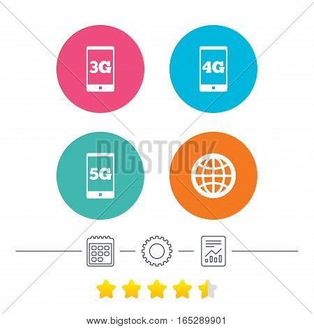 Mobile telecommunications icons. 3G, 4G and 5G technology symbols. World globe sign. Calendar, cogwheel and report linear icons. Star vote ranking. Vector
