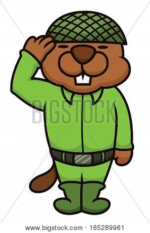 Beaver Soldier Salute Cartoon Isolated on White BAckground