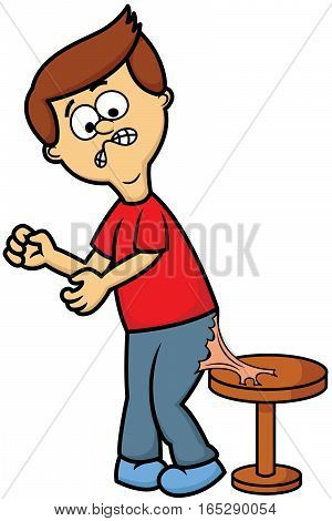 Bubble Gum Stuck on Man Trousers Cartoon Illustration
