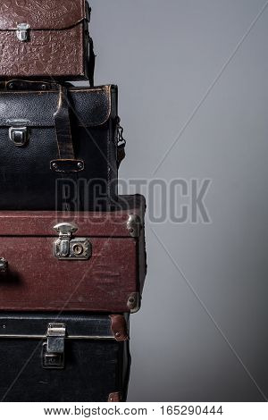 Background Stack Of Old Suitcases