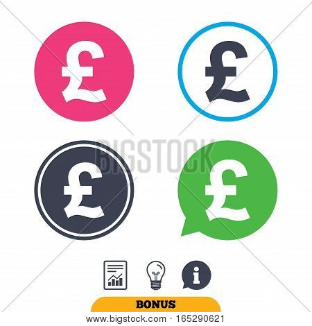 Pound sign icon. GBP currency symbol. Money label. Report document, information sign and light bulb icons. Vector