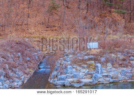 Small stream used to aerate a river with a rocky shorline and trees and brush in the background