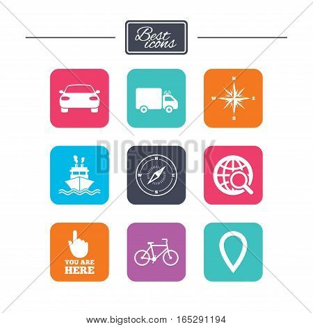 Navigation, gps icons. Windrose, compass and map pointer signs. Bicycle, ship and car symbols. Colorful flat square buttons with icons. Vector
