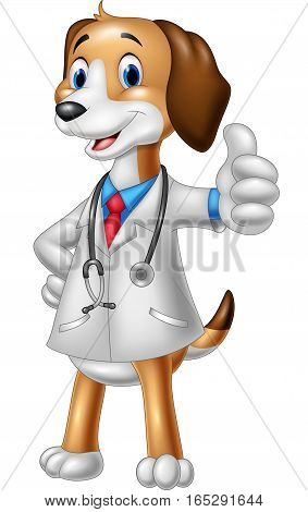 Vector illustration of Cartoon dog wearing a veterinarian's costume giving a thumbs up