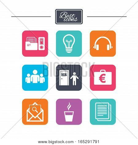 Office, documents and business icons. Accounting, human resources and group signs. Mail, ideas and money case symbols. Colorful flat square buttons with icons. Vector