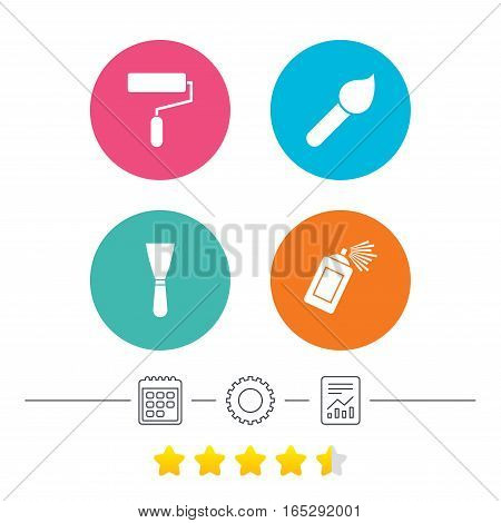 Paint roller, brush icons. Spray can and Spatula signs. Wall repair tool and painting symbol. Calendar, cogwheel and report linear icons. Star vote ranking. Vector