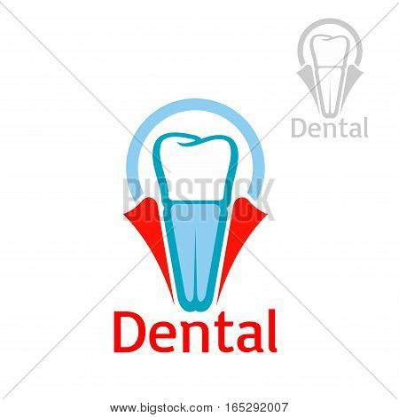 Dentist and dentistry icon or emblem with vector symbol of tooth implant set in dent gum. Isolated sign or badge for dentist clinic, stomatology or dental implantation surgeon office, tooth paste, mouthwash or floss packaging design