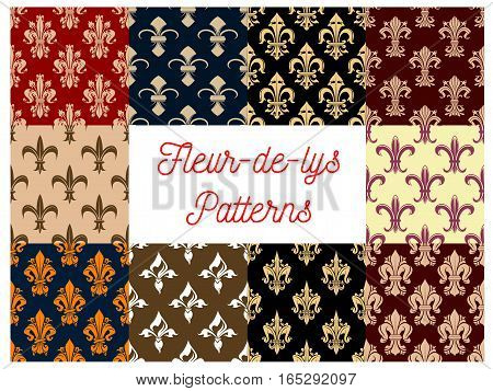 Floral fleur-de-lis or fleur-de-lys royal lily ornament vector patterns set. Flourish seamless tile of flowery ornate baroque tracery. French heraldic flower embellishment motif of luxury imperial ornamental adornment for interior design