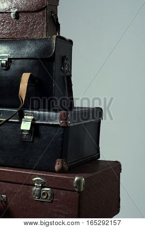 Background Stack Of Old Shabby Suitcase