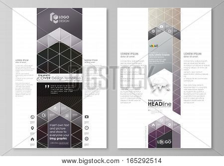 Blog graphic business templates. Page website design template, easy editable abstract vector layout. Dark color triangles and colorful circles. Abstract polygonal style modern background.