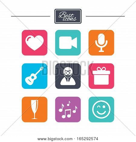 Party celebration, birthday icons. Carnival, guitar and champagne glass signs. Gift box, music and video camera symbols. Colorful flat square buttons with icons. Vector
