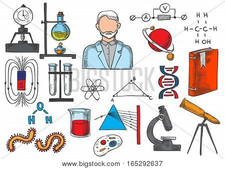 Science and research sketch icons of biology, mathematics, geometry, chemistry, physics vector items of atom and DNA, telescope, scientist book, magnet, chemical test flask and globe planet model, prism light formula, bacterium cell in microscope