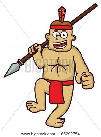Dayak Man of Indonesia Borneo Island Cartoon Illustration Isolated on White