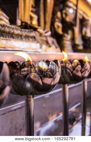 Candle in Wat Phar That Doi Suthepb, Thai temple in Chiangmai Thailand