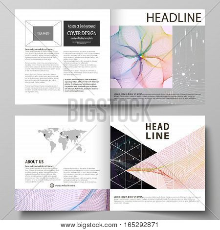 Business templates for square design bi fold brochure, magazine, flyer, booklet or annual report. Leaflet cover, abstract flat layout, easy editable vector. Colorful abstract infographic background in minimalist style made from lines, symbols, charts, dia