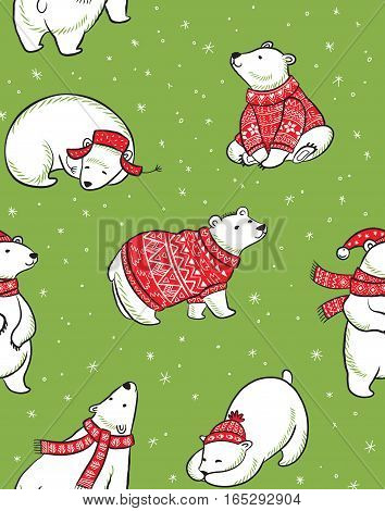 Vector seamless pattern with polar bears in red sweater, scarf and hat. Winter Holidays design. Wrapping paper texture.