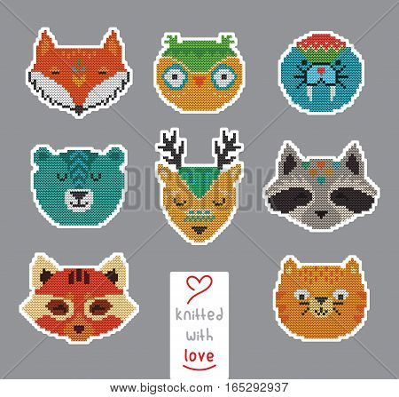 Vector set of knitted animal portraits. Knitting, yarn, handmade theme. It can be used for stickers and labels