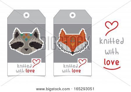 Collection of gift tags with knitted animal portraits. Set of two badge design with knitting cartoon characters - fox and raccoon