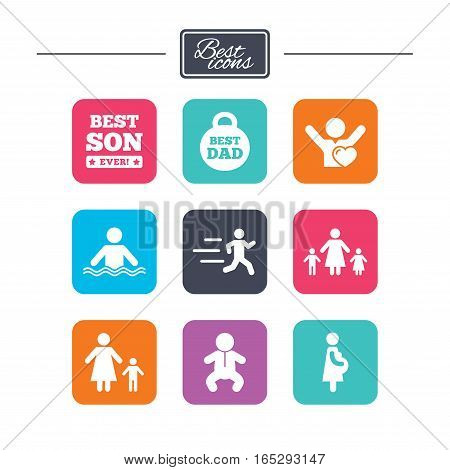 People, family icons. Swimming, baby and pregnant woman signs. Best dad, runner and fan symbols. Colorful flat square buttons with icons. Vector