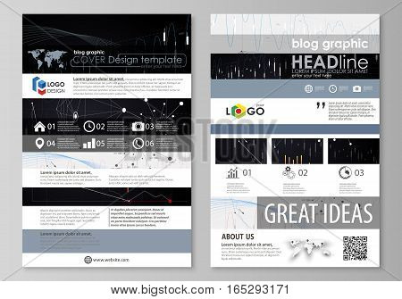 Blog graphic business templates. Page website design template, easy editable abstract vector layout. Abstract infographic background in minimalist style made from lines, symbols, charts, diagrams and other elements.