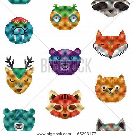 Knit texture vector seamless pattern with cartoon characters - fox, deer, bear, cat, owl and raccoon. Knitted style. Creative illustration