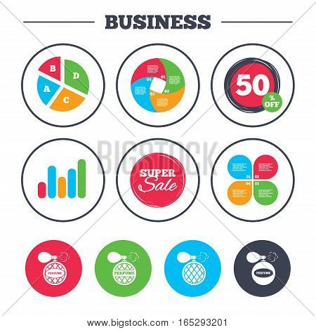 Business pie chart. Growth graph. Perfume bottle icons. Glamour fragrance sign symbols. Super sale and discount buttons. Vector