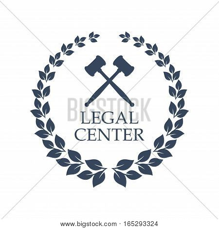 Advocacy juridical icon. Vector isolated emblem of crossed judge gavels and heraldic laurel wreath symbol for legal center, advocate or law and rights attorney office, counsel or lawyer and notary company