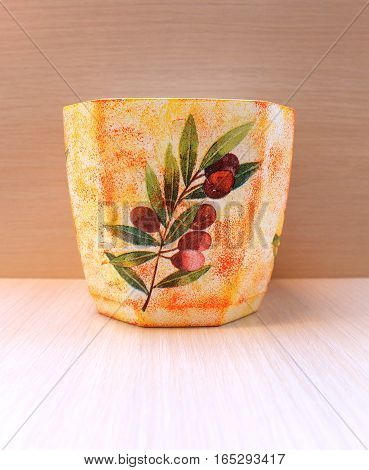 Beautiful decorative flowerpot handmade with decoupage style