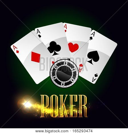 Poker gaming cards and casino gambling chips vector poster with lucky winner combination of aces or spades, red hearts, diamonds and black clubs suits, round game bet tokens and gold glittering light