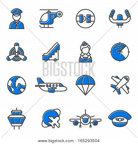 Aviation icons vector set airline graphic illustration.