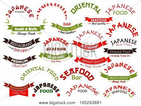 Seafood or fish food ribbons or icons set. Vector emblems and banner signs design for premium quality Japanese or oriental sea food restaurant with daily fresh sushi and sashimi, wok or noodle bar