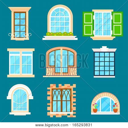 Detailed window set isolated vector illustration. Architectural details, building facade elements, exterior. Colorful window with window sill, curtain, flower, balcony collection in flat style. Window icon set. Cartoon window collection.