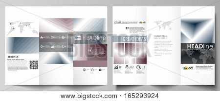 Tri-fold brochure business templates on both sides. Easy editable abstract vector layout in flat design. Simple monochrome geometric pattern. Abstract polygonal style, stylish modern background.