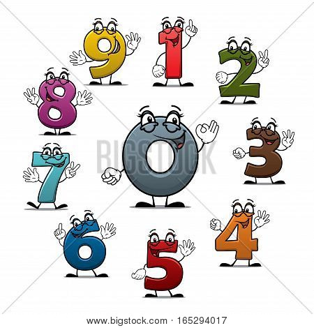 Numbers icons of vector cartoon characters. Smiling numerical figures or numeral digits with eyes, showing numerals quantity with fingers gestures for children math or arithmetic counting education