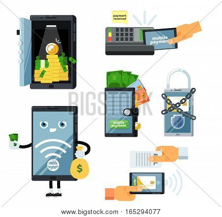 Mobile payment set isolated vector illustration. POS terminal confirm, NFC payment, money transferring via smartphone app, online banking and shopping, e-commerce. Mobile payment service collection. Mobile technology. Mobile phone shopping. Mobile icon.