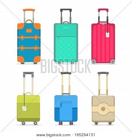 Travel suitcase set on white background vector illustration. Journey package, colorful baggage, business travel bag, trolley backpack, trip luggage. Travel suitcase icon collection in flat. Suitcase isolated sign. Cartoon suitcase collection.