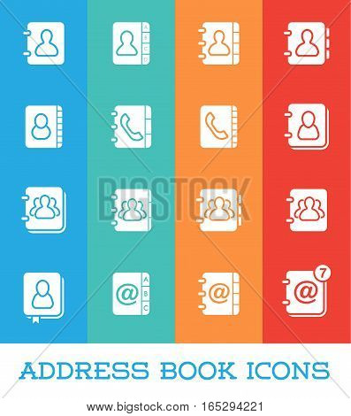 All Kinds of Contact Us Address Book Icons in Vector Isolated for Using in All Purposes Web, Mobile, App Making or Printing